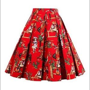 Dresses & Skirts - Red Retro Cowgirl Print Skirt